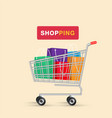 shopping cart colorful shopping bag background vec vector image vector image