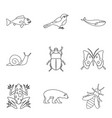 snail icons set outline style vector image vector image