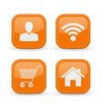 web icons set orange square shiny buttons vector image