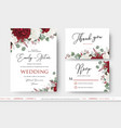 wedding floral invite save the date thank you card vector image vector image