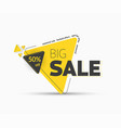yellow triangular tag template for big sale and vector image