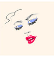young beautiful woman fashion portrait face with vector image