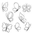 Set of hand drawn butterflies vector image