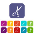 sewing scissors icons set vector image