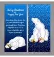 White bear with candy on a blue background vector image