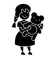 girl with teddy bear icon vector image