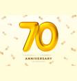 anniversary golden balloons number 70 vector image vector image