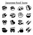 basic japanese food icons set vector image vector image