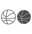 basketball ball line and glyph icon sport vector image