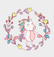 beauty unicorn with branches leaves and hearts vector image