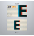 Business card template letter E vector image