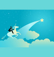 businessman riding a unicorn vector image vector image