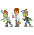 cartoon walking zombie scientist characters set vector image