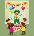 clown carrying balloons to kids birthday party vector image vector image