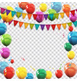 color glossy balloons and confetti on transparent vector image vector image