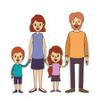 color image caricature family group with parents vector image vector image