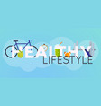 concept healthy lifestyle infographics icons vector image