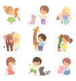 cute little children playing with playing and vector image