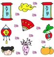 doodle chinese colorful collection vector image vector image