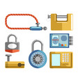 door locks different types padlock latches or vector image vector image