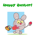 Easter Greeting Above A Rabbit Running With Eggs vector image vector image