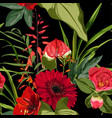 exotic red flowers pattern vector image vector image