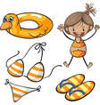 Girl in bikini and beach set vector image