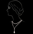 girl in pearl necklace vector image vector image