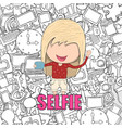 girl teens was selfie with phone happy with media vector image vector image