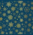 gold and nay blue snowflakes seamless vector image vector image