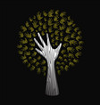 gold glitter hand tree for nature help concept vector image vector image
