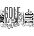 golf club head covers text background word cloud vector image vector image