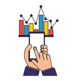 hands with mobile statistics chart report vector image vector image