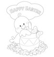 happy easter greeting card black and white vector image