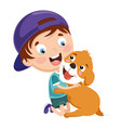 kid playing with dog vector image