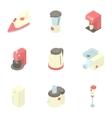 Kitchen appliances icons set cartoon style vector image vector image