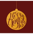 Lettering Merry Christmas in gold ball vector image