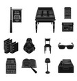 library and bookstore black icons in set vector image