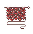 long needle with knitted piece of wool cloth and vector image vector image