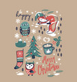 merry christmas hand drawn elements in cartoon vector image vector image