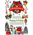 merry christmas wish greeting card sketch vector image vector image