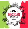 Mexican traditional food background Hand drawn vector image vector image