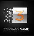 number three logo symbol in golden-silver square vector image vector image
