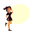 pretty girl woman in pointed hat witch halloween vector image vector image