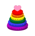 Rainbow pyramid with heart cartoon icon vector image vector image