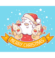 red santa claus and two reindeers with ye vector image