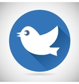Round Blue Social Media Web or Internet Icon Bird vector image
