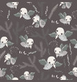 seamless pattern with cute skeleton birds on gray vector image