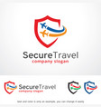 secure travel logo template vector image