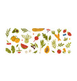 set different fresh vegetables fruits berries vector image